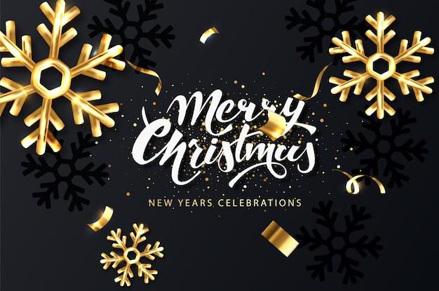 Świąteczna kartka świąteczna. ciemne tło boże narodzenie ze złotymi płatkami śniegu, błyszczącymi iskierkami i konfetti