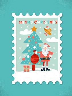 Świąteczna kartka z pozdrowieniami. święty mikołaj z czerwoną torbą i xmas drzewem.