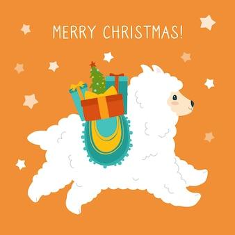 Świąteczna kartka z życzeniami alpaki