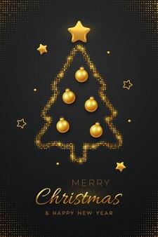Świąteczna kartka z życzeniami minimalistyczny design z abstrakcyjną złotą choinką, bombkami piłek i złotymi gwiazdami.