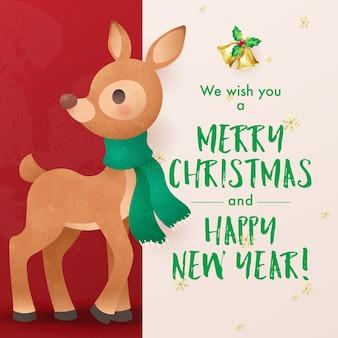 Świąteczna kartka z życzeniami świątecznymi z małym reniferem, który życzy wesołych świąt i szczęśliwego nowego roku