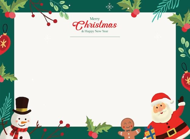 Świąteczna kartka z życzeniami święty mikołaj ręcznie rysowane krajobraz