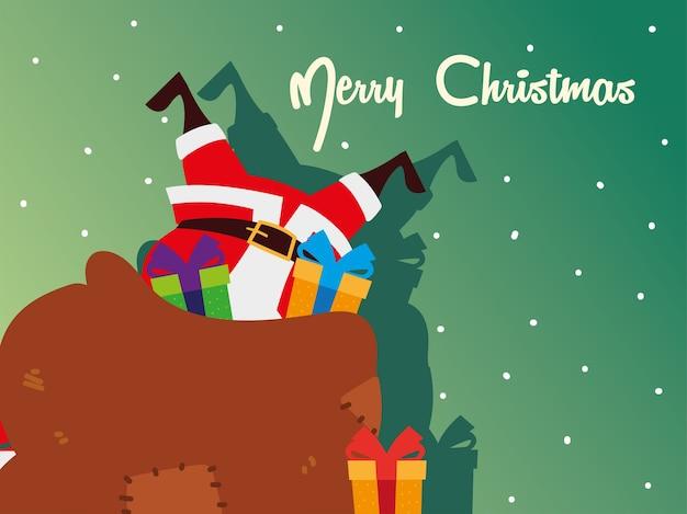 Świąteczna kartka z życzeniami, święty mikołaj w torbie na prezent