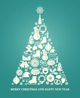 Świąteczna kartka z życzeniami wektorowymi z drzewem składającym się z różnych ikon sezonowych w białej sylwetce ułożonych w kształcie stożkowego drzewa na niebiesko z tekstem poniżej na boże narodzenie i nowy rok