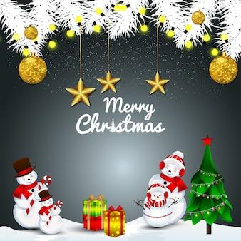 Świąteczna kartka z życzeniami z choinką i pudełkiem prezentów i słodkim mikołajem