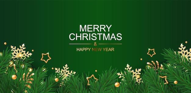 Świąteczna kartka z życzeniami z gwiazdami i płatkami śniegu na zielonym tle