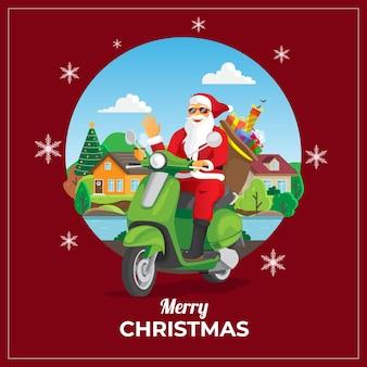 Świąteczna kartka z życzeniami z santa jazdy skuterem