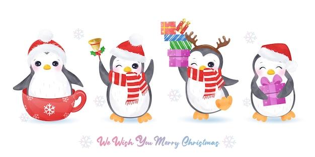 Świąteczna kartka z życzeniami z uroczymi pingwinami w wielu pozach. boże narodzenie ilustracja tło.