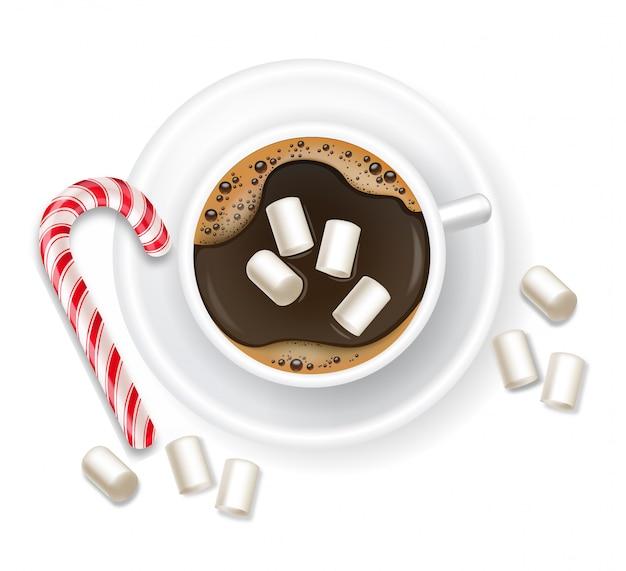 Świąteczna kawa z piankami i słodyczami, realistyczna kawa, zimowy wystrój, pyszny deser, gorący napój, wesołych świąt na białym tle obiekt ilustracja