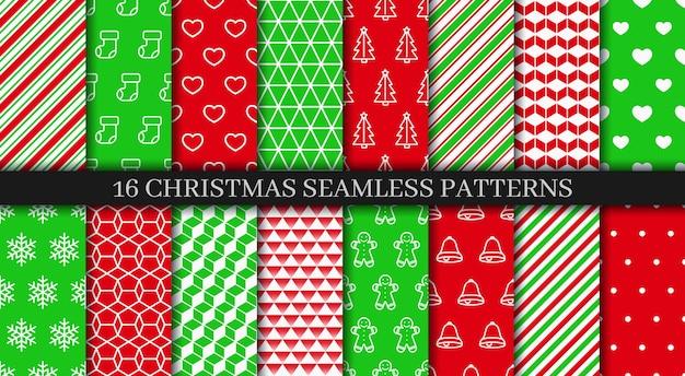 Świąteczna kolekcja bez szwu wzorów z dzwonkami, płatkami śniegu, cukierkiem i ornamentem geometrycznym.
