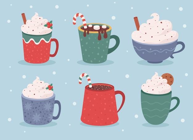 Świąteczna kolekcja gorących napojów zimowe gorące napoje gorąca czekolada filiżanki kawy