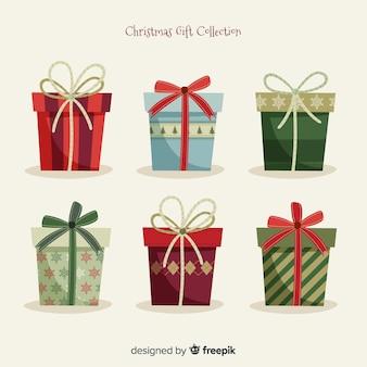 Świąteczna kolekcja pudełko na prezent w płaskiej konstrukcji
