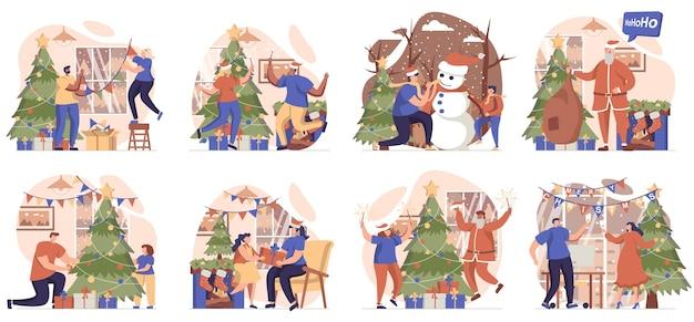 Świąteczna kolekcja scen na białym tle ludzie dekorują świąteczne drzewo i świętują wakacje w domu