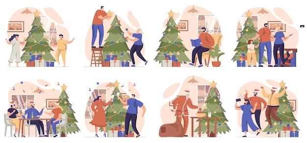 Świąteczna kolekcja scen na białym tle ludzie sprawiają, że bałwan daje prezenty i świętuje wakacje