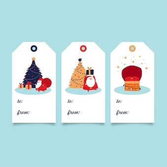 Świąteczna kolekcja tagów prezentowych - święty mikołaj