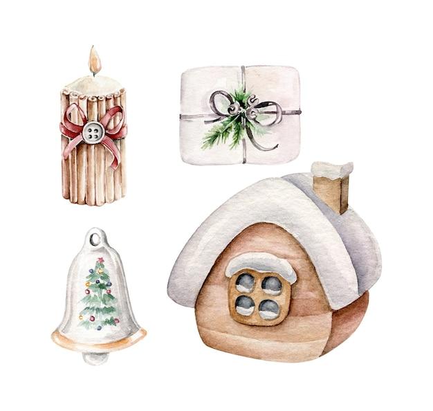 Świąteczna kolekcja z domem w śniegu, prezentem bożonarodzeniowym, dzwonkiem, świecą