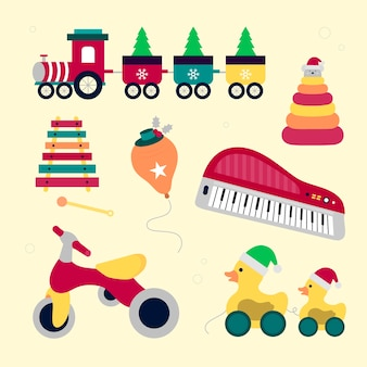 Świąteczna kolekcja zabawek w płaskiej konstrukcji