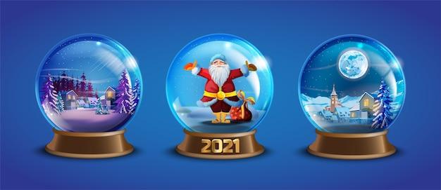 Świąteczna kolekcja zimowych kulek śnieżnych z udekorowanymi domkami wiejskimi, sosnami, mikołajem. x-mas szklana kula ziemska z małym krajobrazem. wakacje kryształowe śnieżne kule z pamiątkami ilustracja