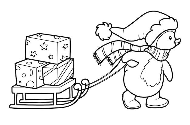 Świąteczna kolorowanka lub strona dla dzieci. boże narodzenie pingwin czarno-biały ilustracja wektorowa