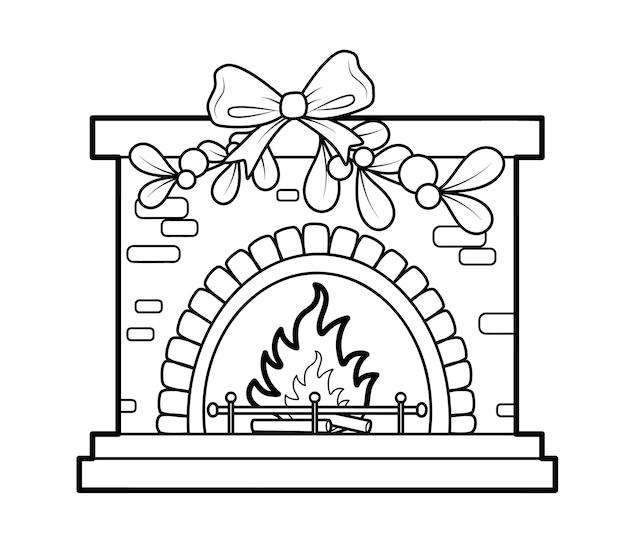 Świąteczna kolorowanka lub strona dla dzieci. kominek czarno-biały ilustracja wektorowa