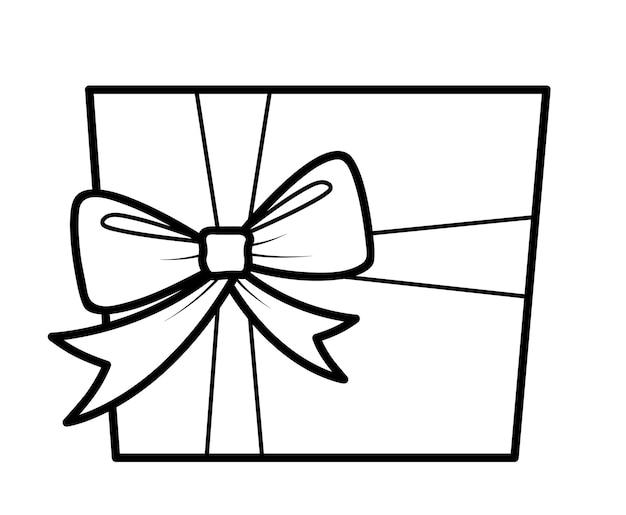 Świąteczna kolorowanka lub strona dla dzieci. prezent czarno-biały ilustracja wektorowa