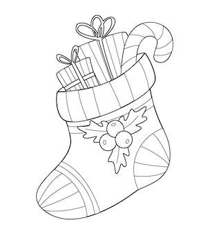 Świąteczna kolorowanka z prezentami i cukierkiem w pończochach konturowy rysunek nowy rok