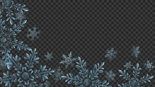 Świąteczna kompozycja dużych złożonych przezroczystych płatków śniegu w jasnoniebieskich kolorach do wykorzystania na ciemnym tle. przezroczystość tylko w formacie wektorowym