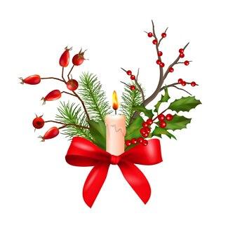 Świąteczna kompozycja świąteczna z dekoracjami, kokardą i świecą