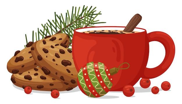 Świąteczna kompozycja z filiżanką kawy, czekoladowymi ciasteczkami i dekoracją.
