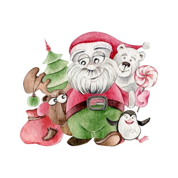 Świąteczna kompozycja ze świętym mikołajem, niedźwiedziem polarnym, pingwinem, łosiem, choinką