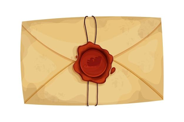 Świąteczna koperta listowa z czerwoną woskową pieczęcią i liną w stylu kreskówki na białym tle