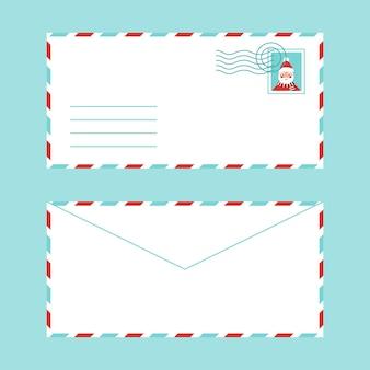 Świąteczna koperta pocztowa z życzeniami ze znaczkiem i miejscem na tekst