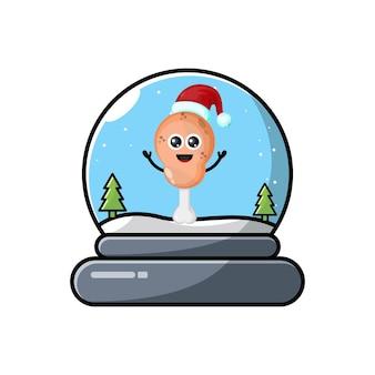 Świąteczna kopuła smażonego kurczaka słodkie logo postaci