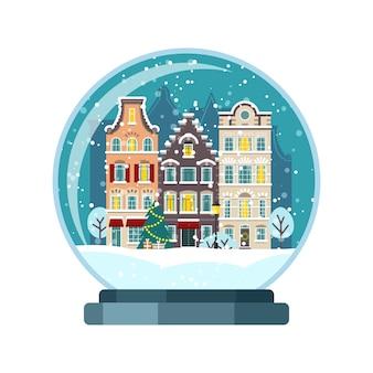 Świąteczna kula śnieżna z domami w amsterdamie. ilustracja na białym tle