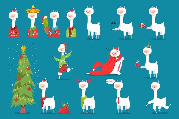 Świąteczna lama w czapce mikołaja