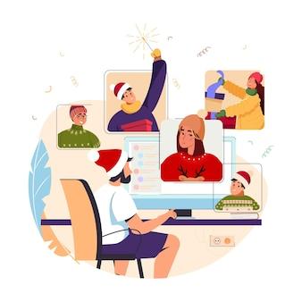 Świąteczna lub noworoczna impreza online różnorodni ludzie świętują nowy rok szczęśliwi przyjaciele na czacie wideo