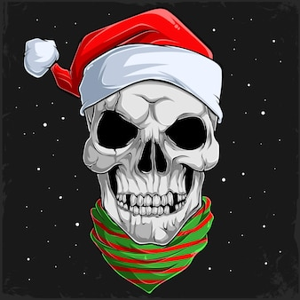 Świąteczna ludzka czaszka głowa z czapką świętego mikołaja i chustką w paski świąteczna twarz szkieletu