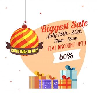 Świąteczna największa sprzedaż w lipcu banner.