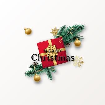 Świąteczna płaska kompozycja z czerwonym pudełkiem na prezent