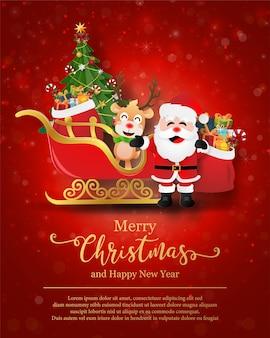 Świąteczna pocztówka przedstawiająca świętego mikołaja i renifera z saniami