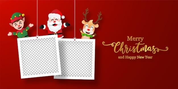 Świąteczna pocztówka transparent świętego mikołaja i przyjaciół z ramką
