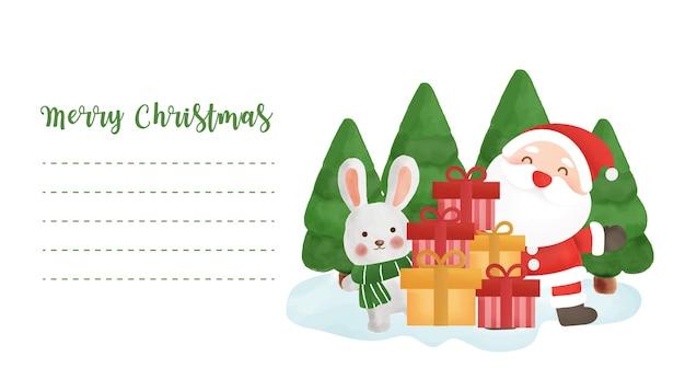 Świąteczna pocztówka z uroczym mikołajem i przyjaciółmi na kartkę z życzeniami.