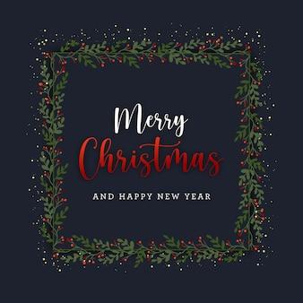 Świąteczna pocztówka z wieńcem i złotym brokatem na ciemnym tle