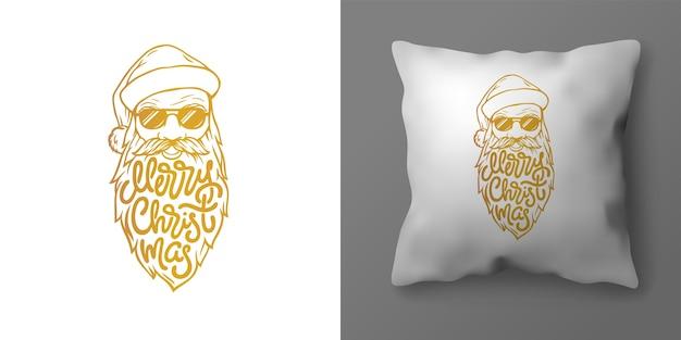 Świąteczna poszewka na poduszkę z ilustracją przedstawiającą świętego mikołaja i napis wesołych świąt. świąteczna złota typografia w postaci brody świętego mikołaja. szablon do projektowania wnętrz.
