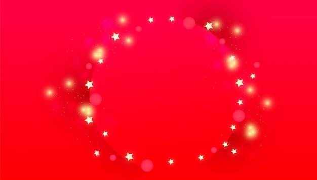 Świąteczna rama koła z błyszczącymi światłami dekoracyjnymi, jasnymi złotymi gwiazdami