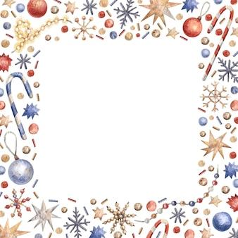 Świąteczna ramka akwarela z dekoracjami, cukierkami, płatkami śniegu, gwiazdami i girlandami.