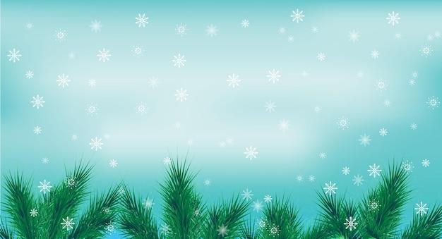 Świąteczna ramka z niebieskim tłem jodły i padający śnieg