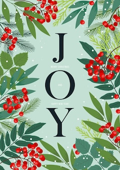 Świąteczna ramka ze światem joy z jagodami ostrokrzewu i jarzębiny, gałęziami jodły i sosny, zimowymi liśćmi i roślinami. wesołych świąt i szczęśliwego nowego roku pocztówka