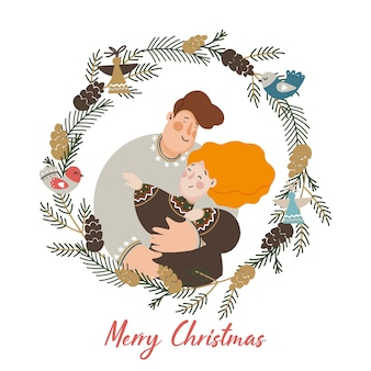 Świąteczna rodzina ilustracja z ozdobnym wieńcem