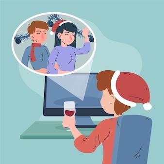 Świąteczna scena rodzinna wideokonferencja